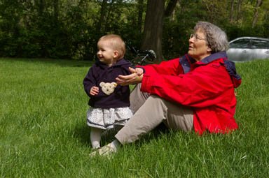 Sungiva and her grandmother enjoy the lawn.