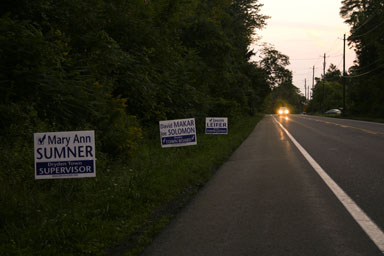 Campaign signs out